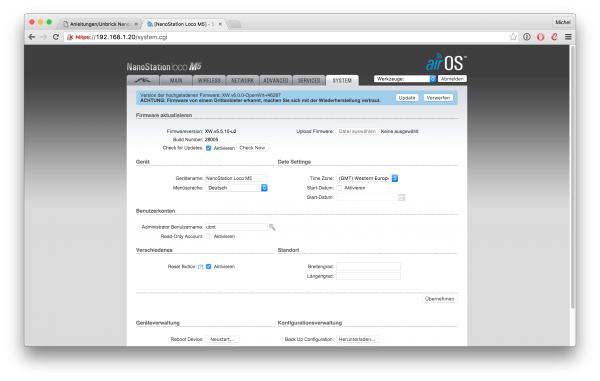 UBNT Router GUI, Firmware bestaetigen
