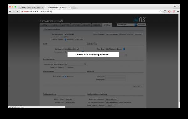 UBNT Router GUI, Firmware runterladen