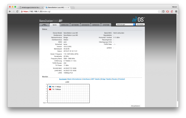 UBNT Router GUI, Main Screen